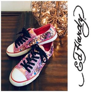 Ed Hardy pink sequin devil sneakers